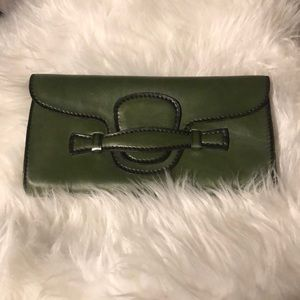 Vintage Green Leather Envelope Clutch